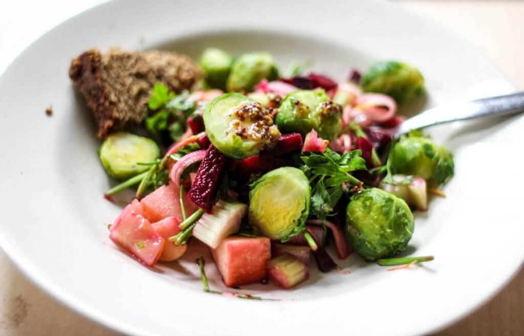 vegan plant based winter salad brussel sprouts appel